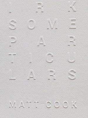 Irksome Particulars. By Matt Cook. Publishing Genius Press. 110 pages. $15.95.