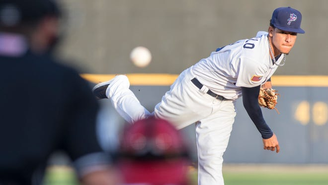 The Blue Wahoos'  Luis Castillo, shown against Jacksonville on April 18, was called up to start for the Cincinnati Reds on Friday against the Washington Nationals, becoming the 44th Blue Wahoos player to reach the big leagues.