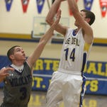 Martensdale-St. Marys' Jack Murphy shoots against West Central Valley during a Nov. 23 scrimmage in Martensdale.
