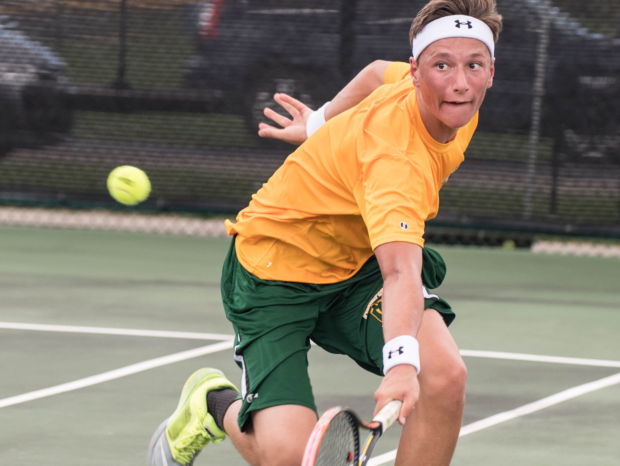 Pennfield High School senior Alex LaChance during the All-City Tennis Tournament on Aug. 25.