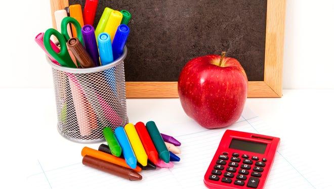 An assortment of homework-related items.