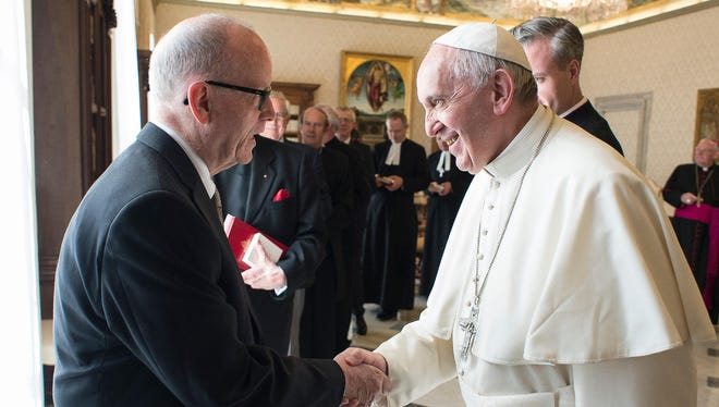 Kirby Hickey, of York Township, met with Pope Francis in the Vatican on April 7. Hickey is a member of a Methodist group that met privately with the Pope following the opening of  the Methodist Ecumenical Office in Rome.