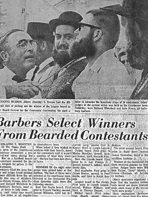This photo and article from The Daily Times shows the judging of the beard contest during Wicomico County's centennial in 1967.