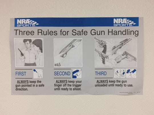 Several posters in a classroom at High Caliber Gun