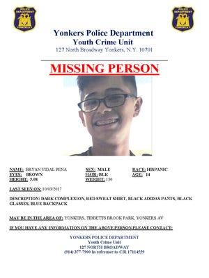 Bryan Vidal Pena, 14, is missing in Yonkers.