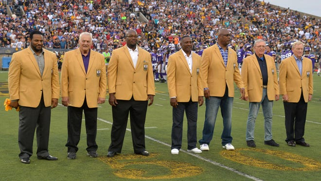 Pro Football Hall of Fame enshrines Jerome Bettis and Mick Tingeloff and Will Shields and Tim Brown and Charles Haley and Ron Wolf and Bill Polian are introduced at the 2015 Hall of Fame game at Tom Benson Hall of Fame Stadium.