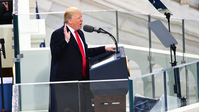 President Trump delivers his inaugural address on the west front of the Capitol on Jan. 20, 2017.