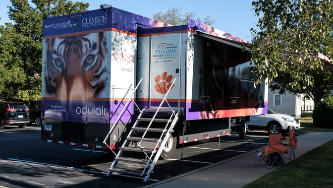 Clemson University's solar-powered mobile clinic is stationed in the Greenville Radiology parking lot on Wednesday, Oct. 4, 2017.