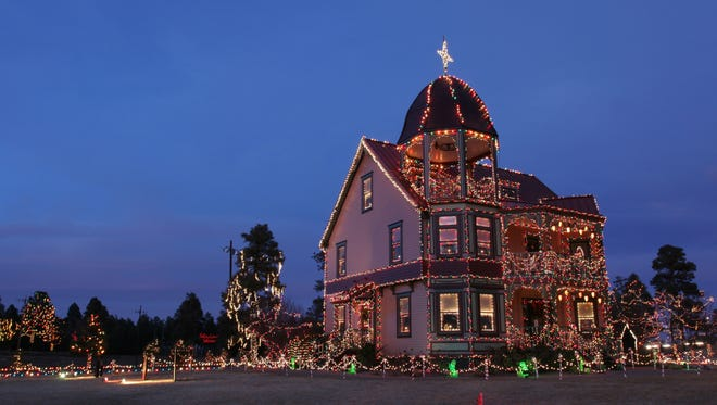 The brilliantly lit Victorian Building sits at the corner of Deuce of Clubs Blvd. and Clark Rd. in Show Low.