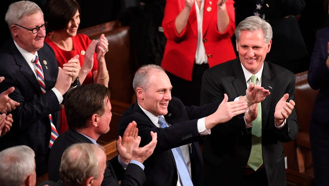 Rep. Steve Scalise, R-La., acknowledges the crowd after being mentioned by President Trump during the State of the Union Address.