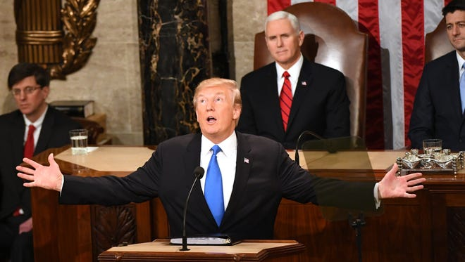 President Donald Trump delivers the State of the Union address on Jan. 30, 2018 from the House chamber of the United States Capitol in Washington.