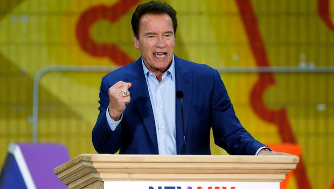 Arnold Schwarzenegger, seen here addressing the New Way California Summit on March 21, has reportedly undergone emergency open-heart surgery.