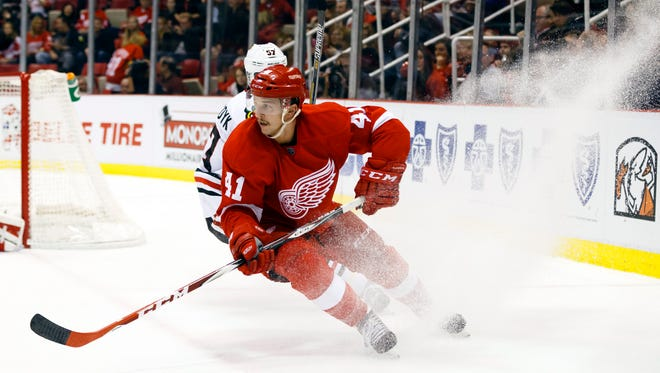 Detroit Red Wings right wing Luke Glendening.