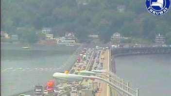 Thruway traffic heading to Westchester on the Tappan Zee Bridge is backed up to Exit 12 in West Nyack due to emergency pothole repairs on the bridge.