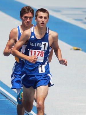 Eric Baugh of Villa Madonna runs in the state meet. KHSAA Class 1A state track and field meet. May 23, 2015. University of Kentucky.