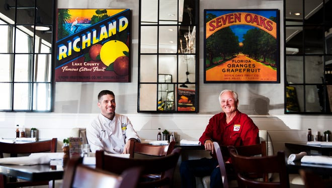 The Local chef Jeff Mitchell, left, and Palmetto Creak Farms farmer Jim Wood pose for a portrait at The Local on Friday, November 4, 2016 in North Naples. Mitchell and Wood have become a prime example of  farm-to-table relationships for Naples diners.