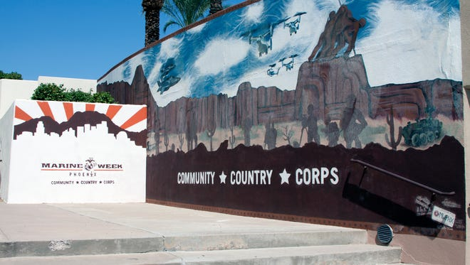 The Marine Corps Mural near the Civic Center Library.