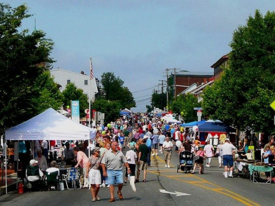 People enjoying the food and festivities and last year's Historic Old Annville Day.