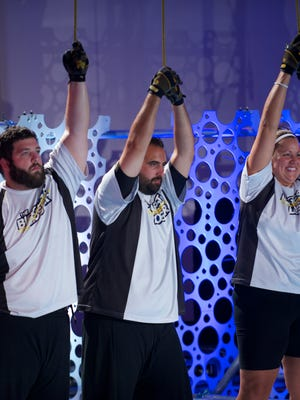 "JJ O'Malley (from left), Toma Dobrosavljevic and  Rondalee Beardslee compete on ""The Biggest Loser."""