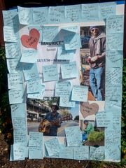 Mourners left notes to Maurice Sorrell Saturday, February