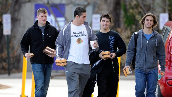 Northwestern Wildcats football players on the campus to vote on whether to unionize at Northwestern University.