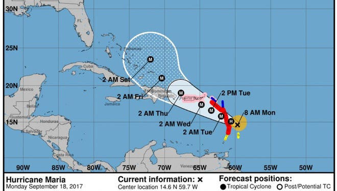 The National Hurricane Center's projected path for Hurricane Maria at 11 a.m. on Monday, Sept. 18, 2017.