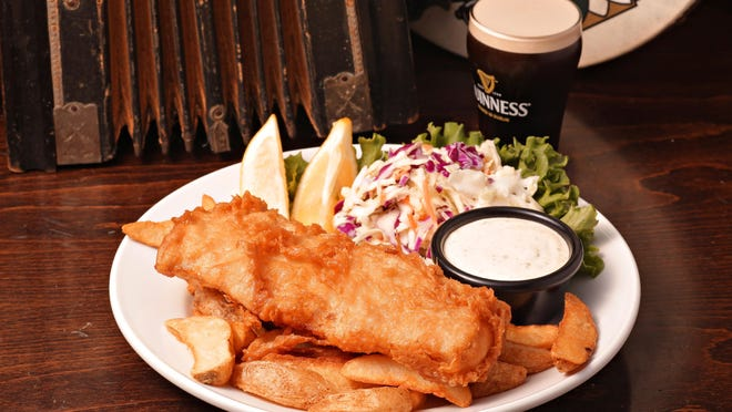 The fish and chips from the Irish Wolfhound is a popular dish, especially on all-you-can-eat fish fry Fridays. A Guinness batter gives the fresh cod a special taste.