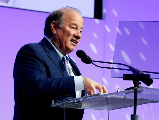 Detroit Mayor Mike Duggan gives a talk about Dr. Martin Luther King Jr. during the Let Freedom Ring event at Cobo Center in Detroit on Jan. 15, 2018.