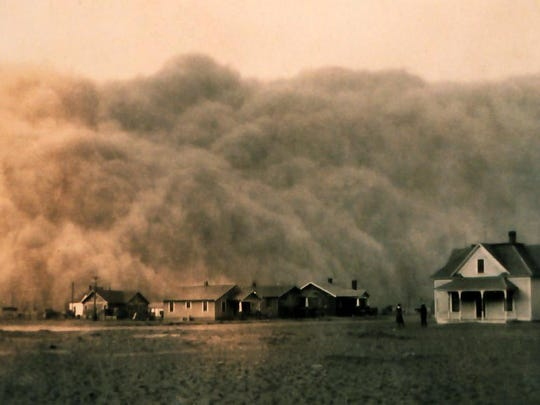 Dust storms plague the Texas in 1935 during the Dust Bowl era.