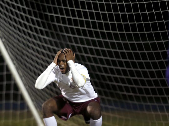 Florida High's Michael Williams Jr reacts after his shot on goal is called a goalie save by the referee during their District Semifinal game at Rickards High School on Wednesday.