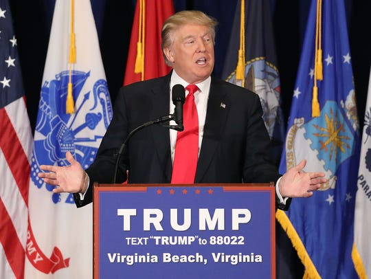 Donald Trump speaks in Virginia Beach on July 11, 2016.