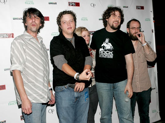 Drive-By Truckers circa 2005 at Spin magazine's 20th anniversary party at Webster Hall in New York. From left: Mike Cooley, Jason Isbell, Shonna Tucker, Patterson Hood and Brad Morgan.