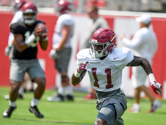 Alabama wide receiver Henry Ruggs III (11) at practice