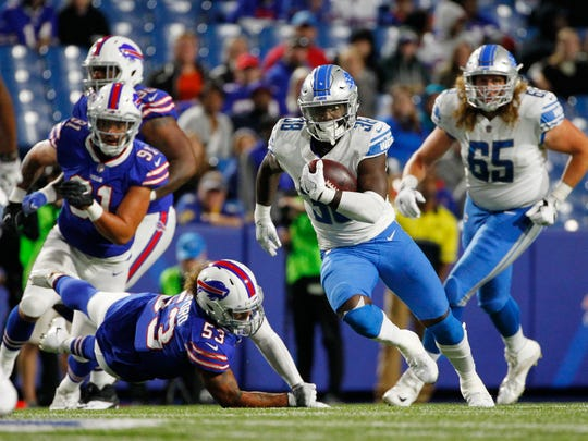 Tion Green runs for a 74-yard touchdown in the second half of an exhibition game against the Bills on Aug. 31.