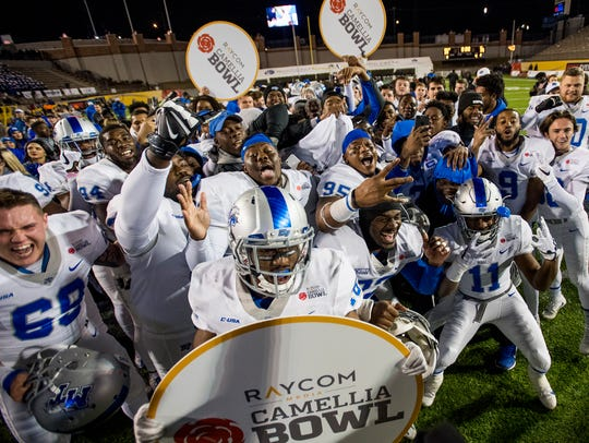 Middle Tennessee State University celebrates winning