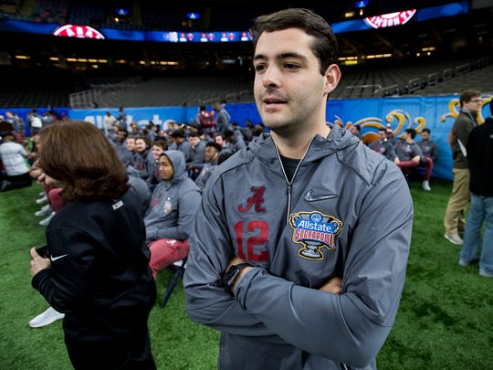 Alabama kicker Andy Pappanastos (12) during the Sugar Bowl Alabama Media Day at the Superdome in New Orleans, La. on Saturday December 30, 2017. (Mickey Welsh / Montgomery Advertiser)