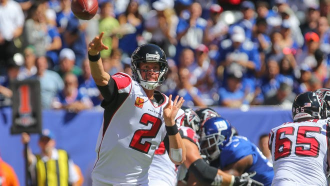 Sep 20, 2015; East Rutherford, NJ, USA; Atlanta Falcons quarterback Matt Ryan (2) throws a pass during the first half of their game against the New York Giants at MetLife Stadium. Mandatory Credit: Ed Mulholland-USA TODAY Sports