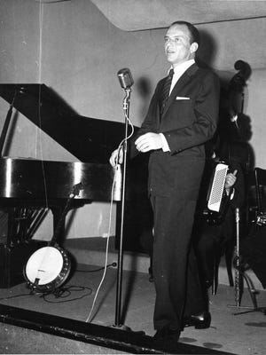 Frank Sinatra, one of Palm Springs' most notable residents, is pictured performing at El Mirador Hotel.