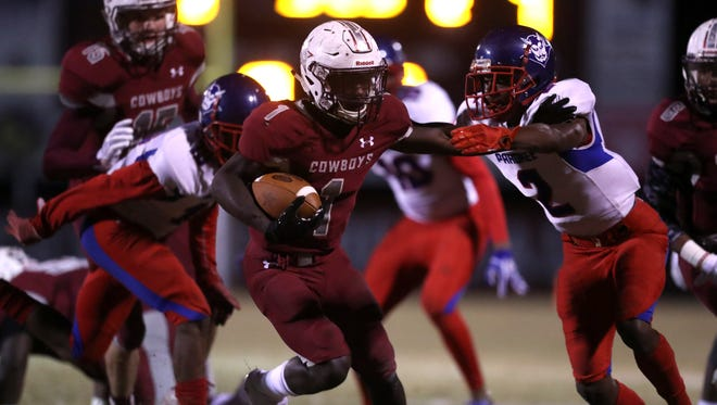 Derrick Staten ran for 194 yards and touchdowns of 64, 12 and 27 yards in Madison County's 28-10 win over Pahokee on Friday night in a Class 1A state semifinal.