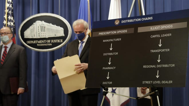Deputy Attorney General Jeffrey A. Rosen holds a news conference to announce the results of the global resolution of criminal and civil investigations with an opioid manufacturer at the Justice Department in Washington, Wednesday, Oct. 21, 2020.