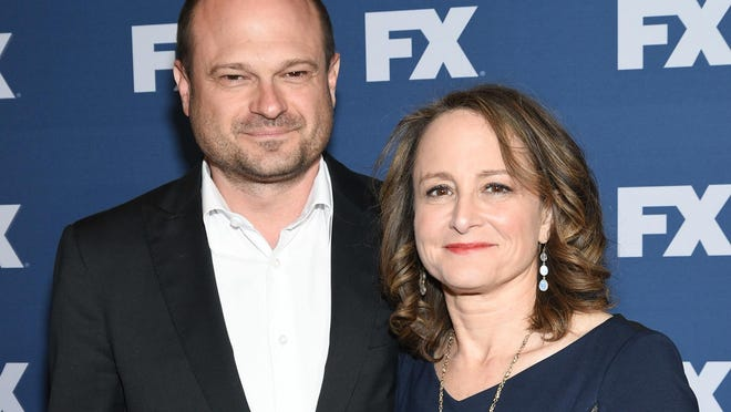 """""""American Crime Story"""" executive producers Brad Simpson and Nina Jacobson attend an event in March. Their next installment, following the success of """"The People v. O.J. Simpson,"""" will take on Hurricane Katrina and New Orleans."""