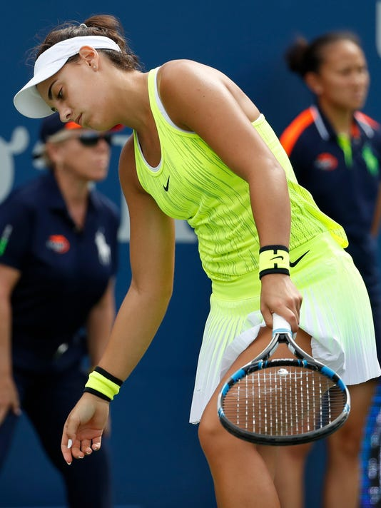 Ana Konjuh, of Croatia, reacts after a point to Varvara Lepchenko, of the United States, during the third round of the U.S. Open tennis tournament, Saturday, Sept. 3, 2016, in New York. (AP Photo/Alex Brandon)