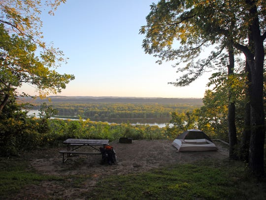 The walk-in campsites at Nelson Dewey State Park provide stunning views of the Mississippi River.