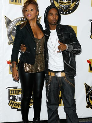 Eve, left, and Juelz Santana arrive at the 2008 VH1 Hip Hop Honors show in New York.