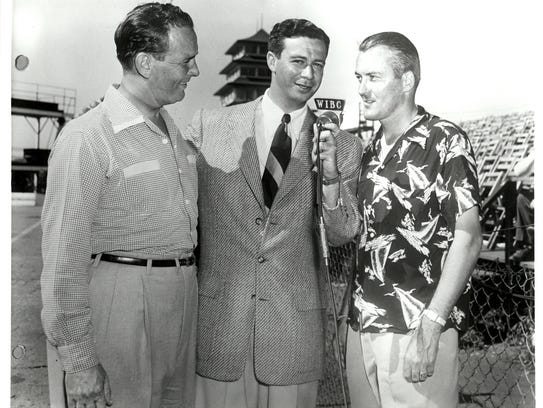 Johnnie Parsons, right, won the 1950 race, the first that Dale Toole could see as well as hear from his newfound perch in an elm tree that reached over a fence into IMS. In the photo, Parsons and Duke Nalon, left, are being interviewed by Sid Collins.They are standing in front of the old Pagoda.