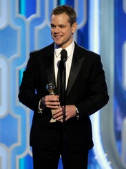 "Matt Damon accepts his Golden Globe Award for ""The"