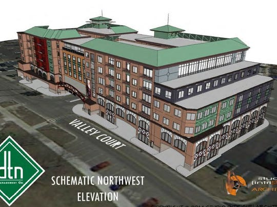 An artist's rendering of the original proposed Gateway development in East Lansing. This version is no longer current.