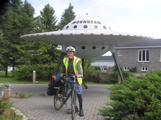On the road in Moonbeam, Ontario, Howard Dietzman, 81, spent his summer bicycling from Western Canada back to his home in Hillsborough.