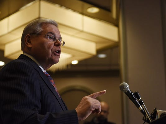 Bob Menendez speaks to media