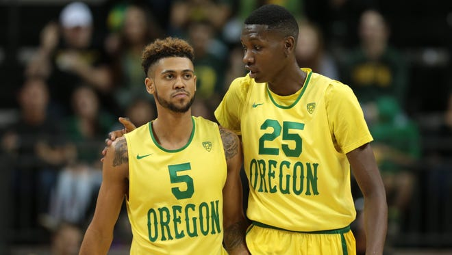 Tyler Dorsey (5) and forward Chris Boucher (25) will pace the way offensively for Oregon while star Dillon Brooks heals.